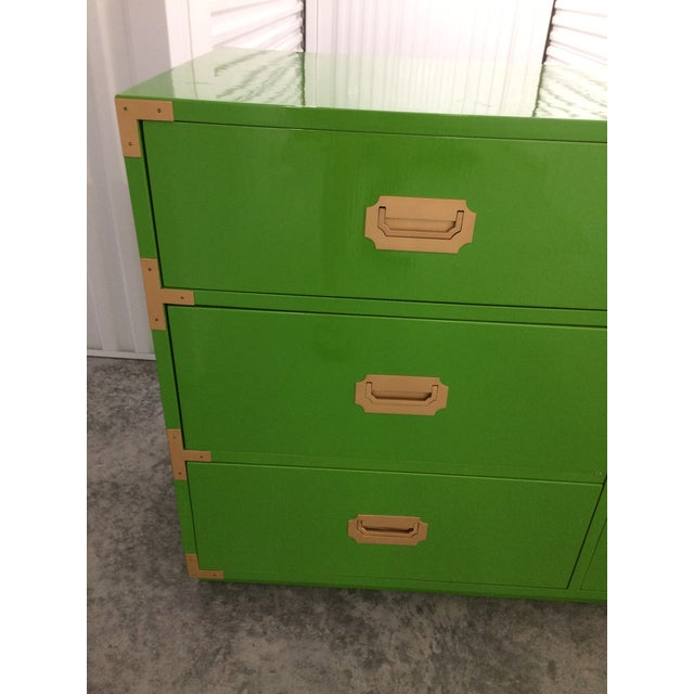 Dixie Campaign Dynasty Green Lacquered Dresser - Image 4 of 6