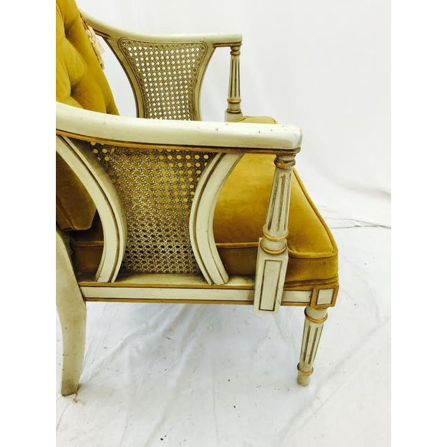 French-Style Gold Velvet & Cane Armchair - Image 5 of 11