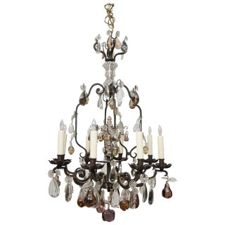 French Eight-Light Chandelier With Multi-Form Pendants For Sale