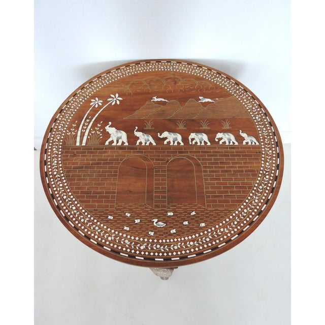 Anglo-Indian Vintage Inlayed Indian 'Elephant Caravan' Teak Wood & Ebony Round Coffee / Side Table For Sale - Image 3 of 8