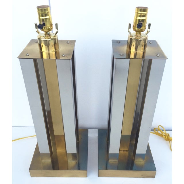 Mid-Century Steel & Brass Column Lamps - A Pair - Image 5 of 9