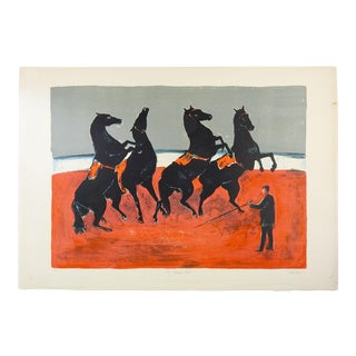 Black Circus Horses French Lithograph