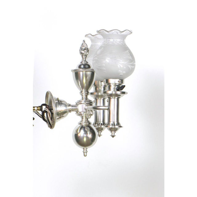 Set of 4 Silver Argand Sconces For Sale - Image 9 of 10