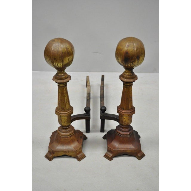 Late 19th Century 19th Century American Federal Brass Cannonball Andirons - a Pair For Sale - Image 5 of 9