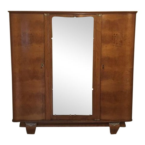 Art Deco Heirloom French Indian Rosewood Armoire For Sale