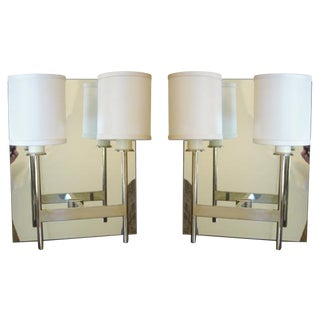 Paul Marra Two-Arm Mirror Back Sconce For Sale