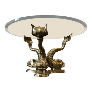 1970s Neoclassical Dolphin Coffee Table Base For Sale