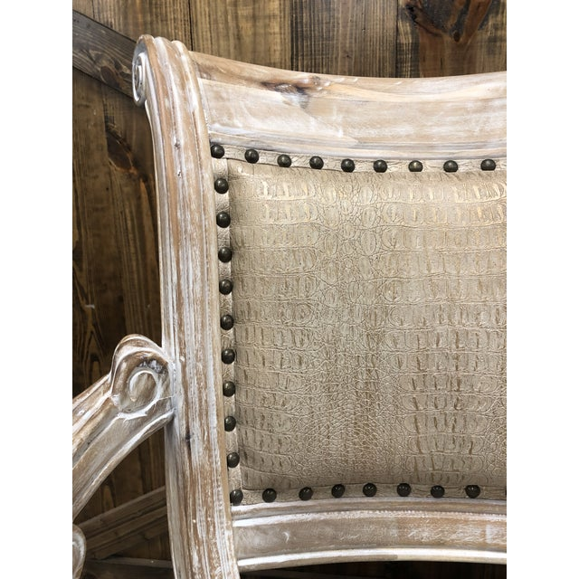 White French Country Rustic Antique White Bar Stool For Sale - Image 8 of 9