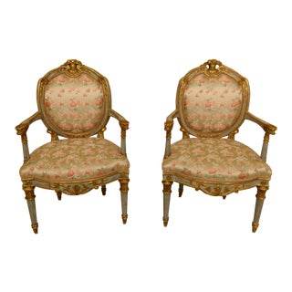 Pair French Louis XVI Style Polychrome Decorated Open Arm Chairs For Sale
