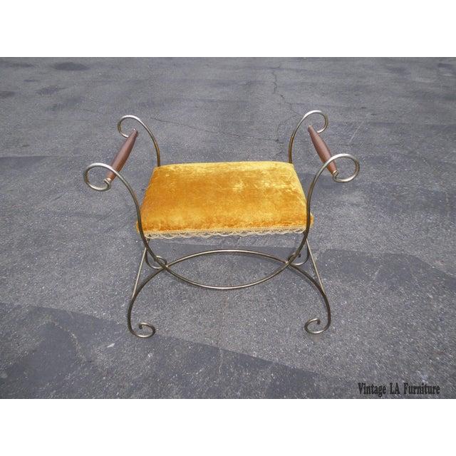 Vintage Hollywood Regency Gold Velvet Vanity Chair - Image 3 of 10
