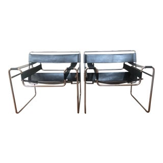 Vintage Marcel Breuer Wassily Leather Chairs for Charles Stendig - a Pair For Sale