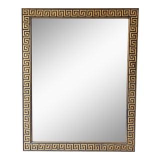 Vintage Large Greek Key Mirror in Gold Leaf and Black