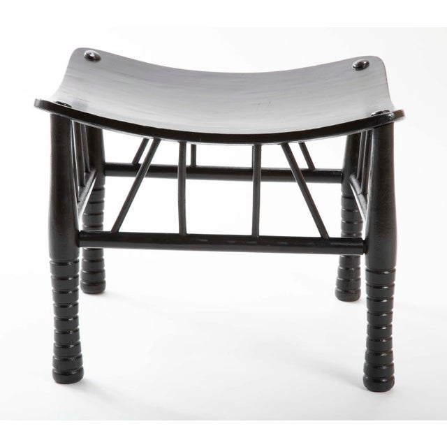 English 19th Century Egyptian Revival Ebony Thebes Stool For Sale - Image 4 of 9