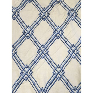 Brunschwig & Fils Bamboo Trellis Blue Fabric For Sale