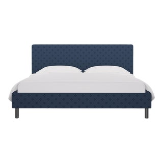 California King Tailored Platform Bed in Azul Faro For Sale