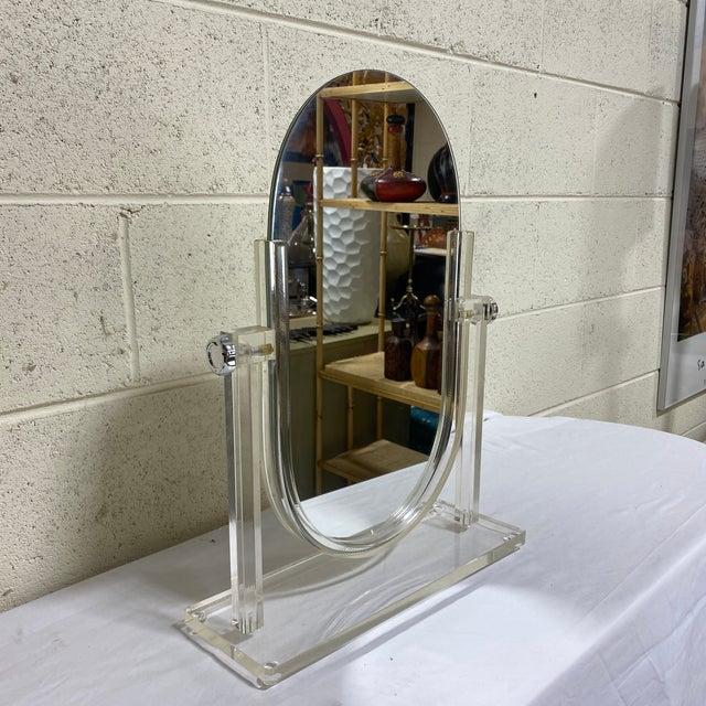 Hollywood Regency Vintage Lucite Vanity Mirror For Sale - Image 3 of 10