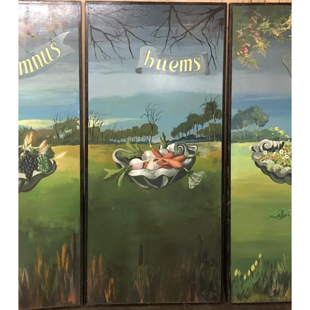 Set of 4 Large Scale Vintage Four Seasons Paintings For Sale - Image 11 of 12