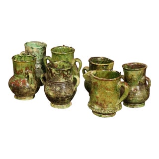 Set of Seven French Green Glazed Pots Vases and Pitcher From Provence For Sale