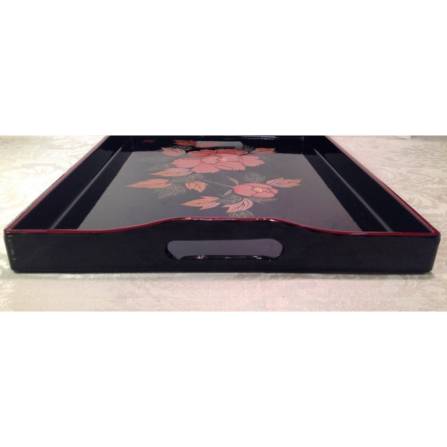 Asian Mid-Century Modern Japanese Lacquer Tray With Floral Design For Sale - Image 3 of 11