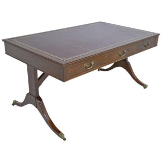 19th Century English Regency Style Writing Desk in Mahogany With Leather Top For Sale