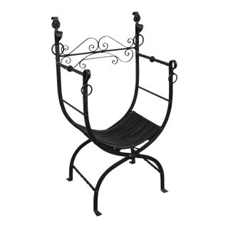 Antique Wrought Iron Savonarola X Form Arm Chair For Sale
