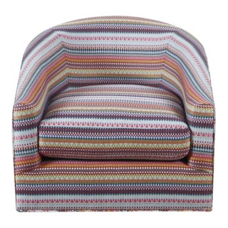Multicolor Mary Jane Swivel Club Chair For Sale