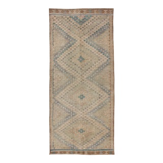 Vintage Turkish Embroidered Flat-Weave Rug With Neutral-Toned Geometric Design For Sale