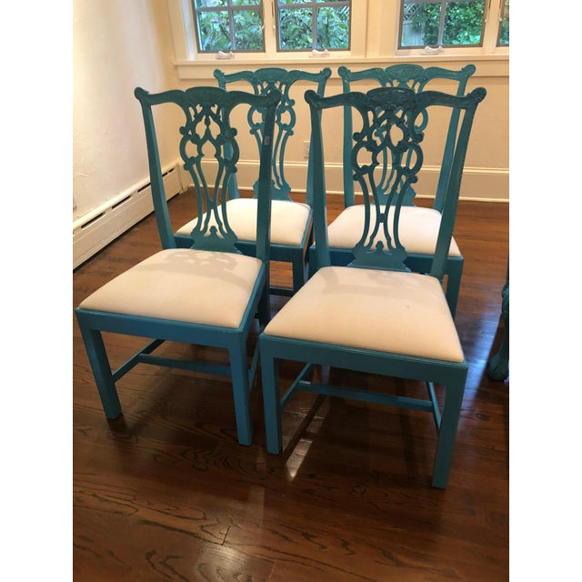 1950s Vintage Laquered Carved Wood Dining Chairs - Set of 8 For Sale - Image 4 of 13
