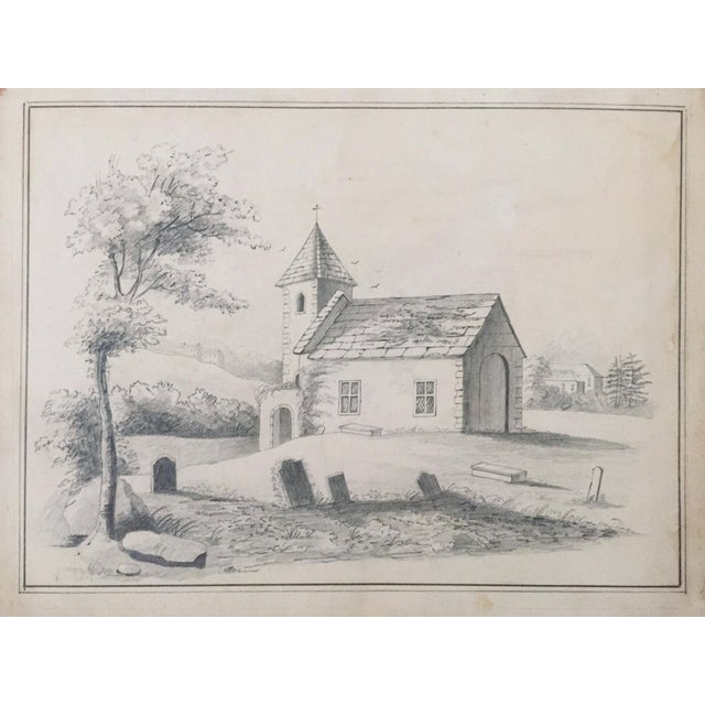 19th C. French Drawing of a Church - Image 1 of 3