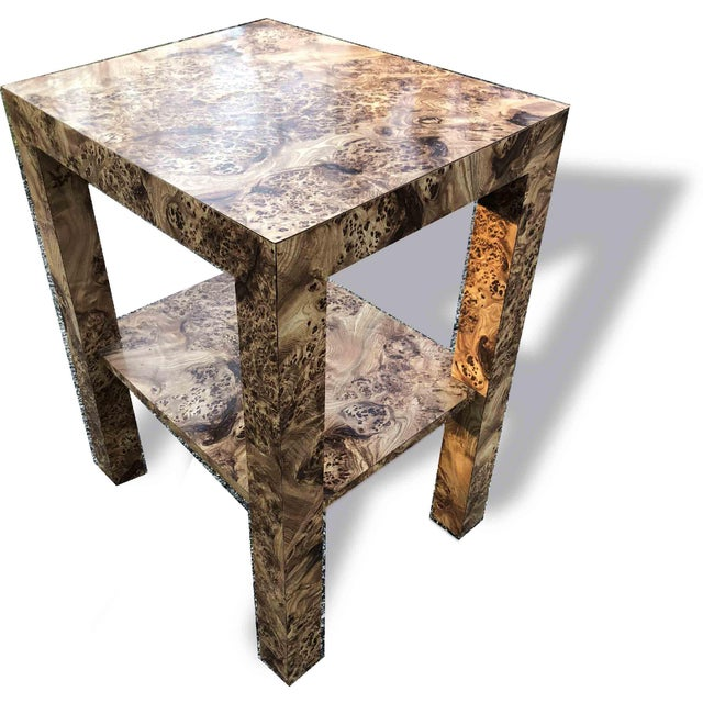 Hollywood Regency 1970s Hollywood Regency Burl Effect Accent Table For Sale - Image 3 of 3