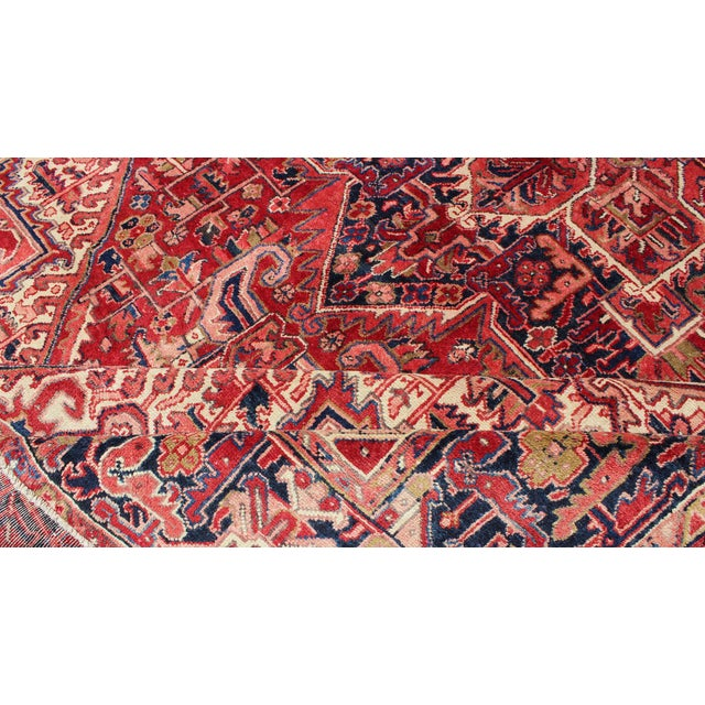 1950s 1950s Vintage Persian Heriz Red Medallion Rug - 8′ × 11′9″ For Sale - Image 5 of 13