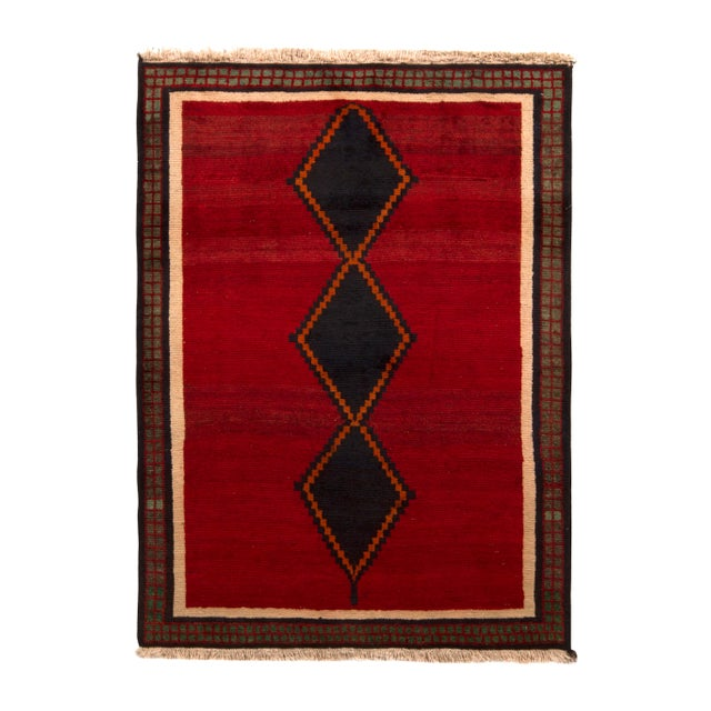 Hand-Knotted Antique Gabbeh Rug Red Beige Green With Black Diamond Pattern For Sale In New York - Image 6 of 6