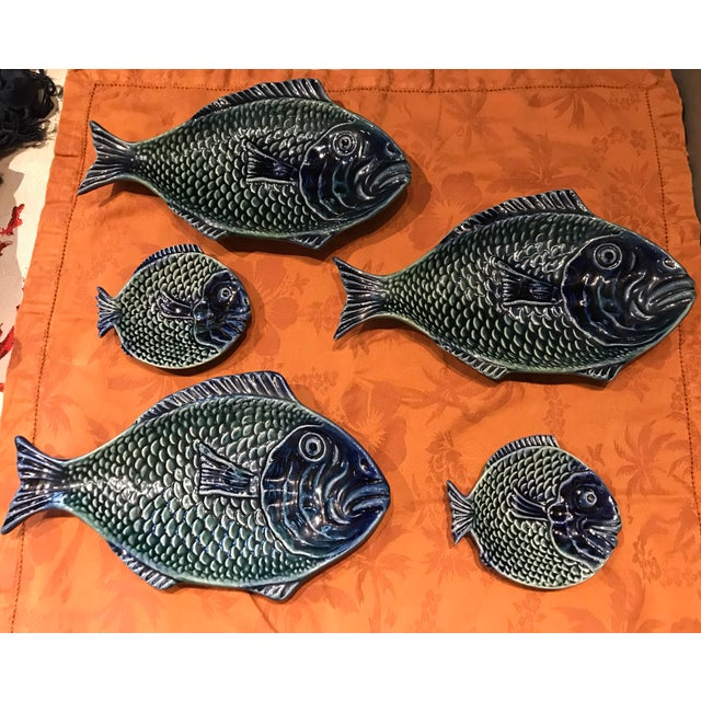Vintage Olfaire Majolica Ceramic Fish Serving Dishes - Set of 5 For Sale - Image 11 of 11