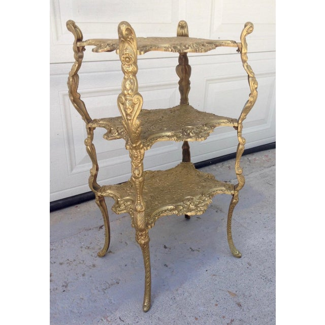 French Vintage Hollywood Regency Gold Metal 3 Tier Table For Sale - Image 3 of 7