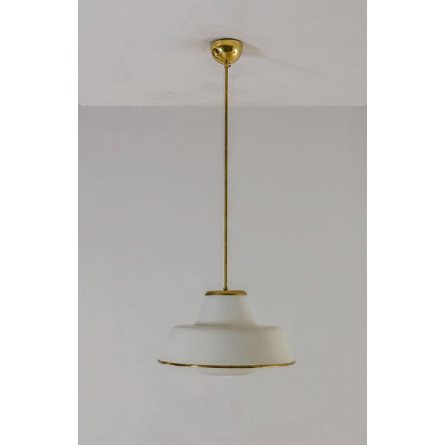 Mid-Century Modern White Glass and Brass Pendant by Lisa Johansson-Pape for Orno, 3 available For Sale - Image 3 of 7