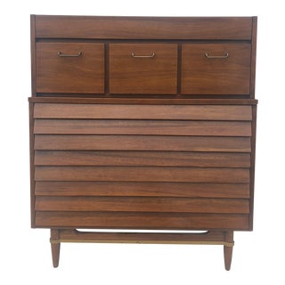 Mid Century Modern Highboy Dresser From Dania by American of Martinsville For Sale