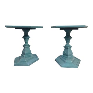 Mid-Century Modern Chalk Painted Side Tables - a Pair