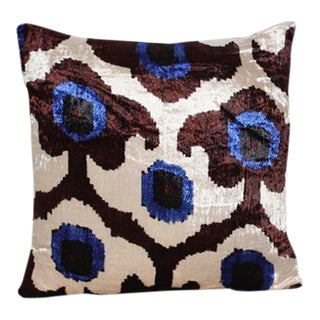 Blue Iris Velvet Pillow