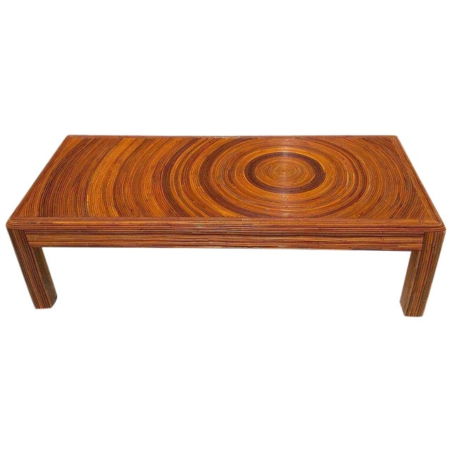Crespi Style Split Bamboo Long Coffee Table For Sale