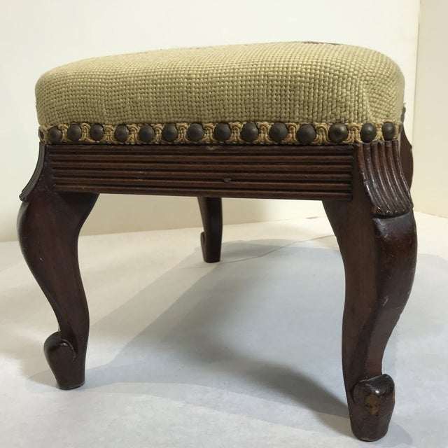 1940s Shabby Chic Needlepoint Footstool For Sale In Chicago - Image 6 of 9
