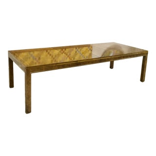 Mastercraft Burled Walnut Dining Table With Brass Inlay For Sale