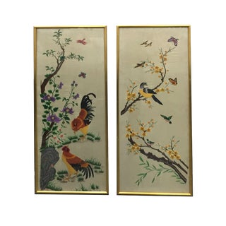 Vintage Mid-Century Chinese Embroidered Rooster and Bird Panels - A Pair For Sale