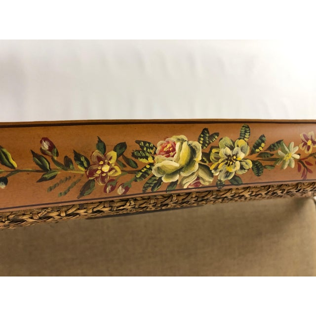 1990s Venetian Style Caned and Hand Painted Loveseat Settee For Sale - Image 5 of 13