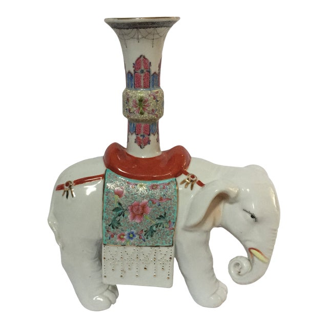 Early 20th Century Chinese Export Famille Verte and Blanc De Chine Elephant Joss Stick For Sale