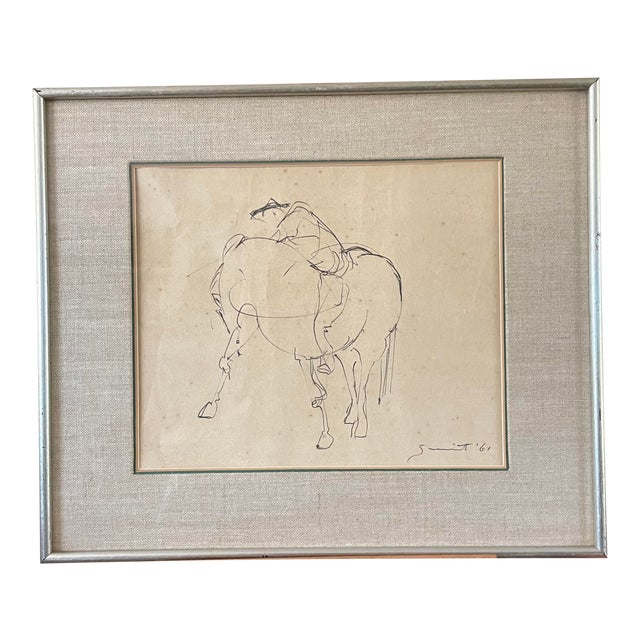 1961 Surrealist Style Abstract Graphite Drawing of a Horse by Walter Quirt, Framed For Sale