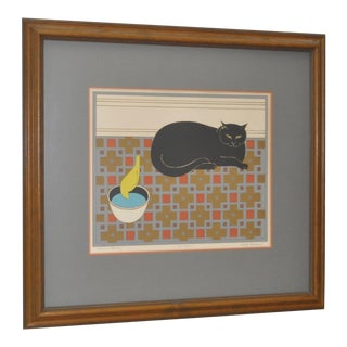 "Will Barnet ""Cat and Canary"" Pencil Signed Lithograph C.1970s"