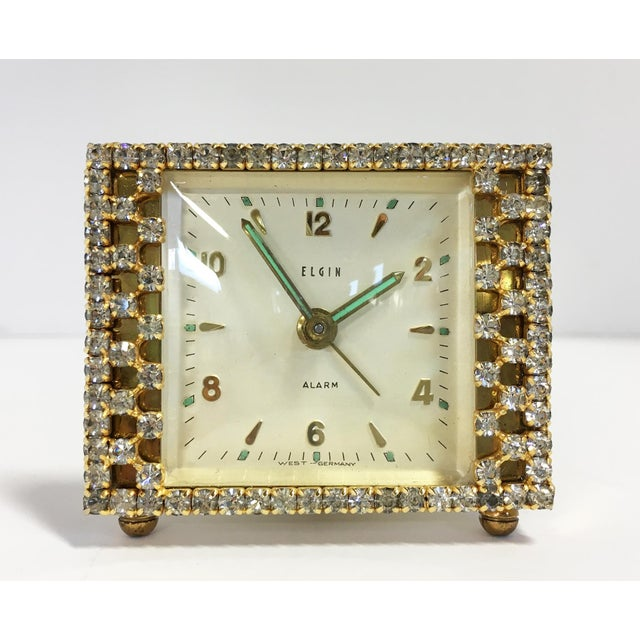 Elgin West Germany Rhinestone Alarm Clock - Image 2 of 7