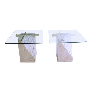 1980s Post Modern Tessellated Stone & Brass Side Tables by Jdi - a Pair For Sale