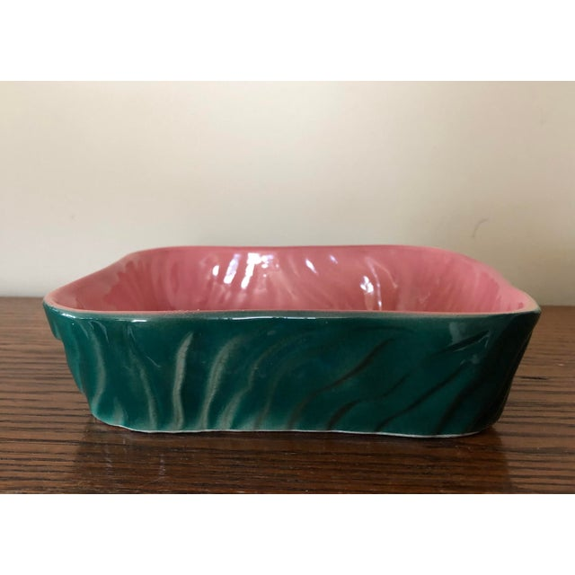 Vintage Mid-Century Green and Pink Pottery Planter For Sale - Image 4 of 9