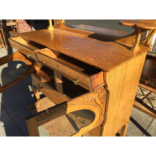 Victorian Oak Sideboard Server With Carved Griffins - Image 8 of 9